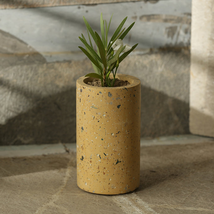 'The Tall Chokor' Handcrafted Terrazzo Planter In Concrete