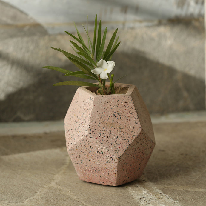 'Pattern on a Barrel' Handcrafted Terrazzo Planter In Concrete