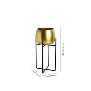 """The Golden Rounds"" Table Planter Pot With Crossed Stand In Iron (10.5 Inch)"