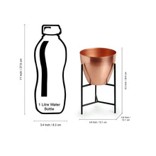 "Load image into Gallery viewer, ""The Copper Frustum"" Table Planter Pot With Triangular Stand In Iron (8,2 Inch)"