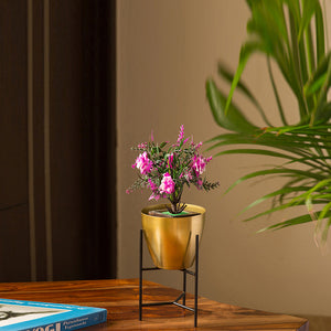 """The Golden Frustum"" Table & Floor Planter Pot With Triangular Stand In Iron"