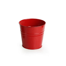"Load image into Gallery viewer, ""The Red Bucket"" Wall Planter Pot With Curved Holder In Galvanized Iron"
