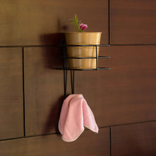 "Load image into Gallery viewer, ""The Golden Bucket"" Wall Planter Pot With Towel Hook In Galvanized Iron"