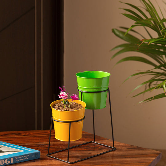 """The Trapezium Buckets"" Table & Floor Planter Pots With Trapezium Stand In Galvanized Iron (Set of 2)"