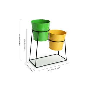 """The Trapezium Buckets"" Table Planter Pots With Trapezium Stand In Galvanized Iron (Set of 2)"