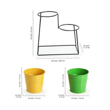 "Load image into Gallery viewer, ""The Trapezium Buckets"" Table Planter Pots With Trapezium Stand In Galvanized Iron (Set of 2)"