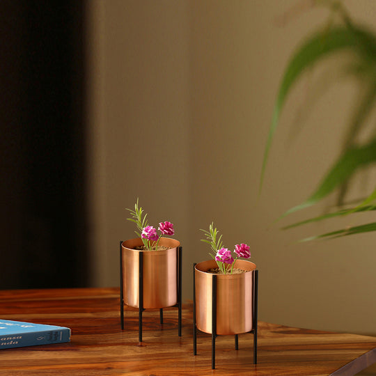 """The Copper Cylindrical"" Table & Floor Planter Pots With Crossed Stands In Iron (Set of 2)"