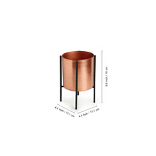 "Load image into Gallery viewer, ""The Copper Cylindrical"" Table Planter Pots With Crossed Stands In Iron (6.3 Inch, Set of 2)"