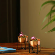 "Load image into Gallery viewer, ""The Copper Bowls"" Table & Floor Planter Pots With Crossed Stands In Iron (Set of 2)"