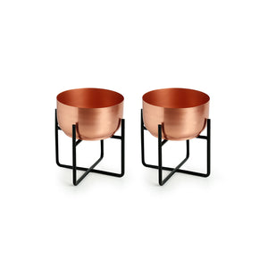 """The Copper Bowls"" Table & Floor Planter Pots With Crossed Stands In Iron (Set of 2)"