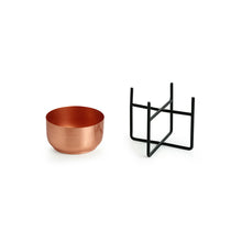 "Load image into Gallery viewer, ""The Copper Bowls"" Table Planter Pots With Crossed Stands In Iron (5.2 Inch, Set of 2)"