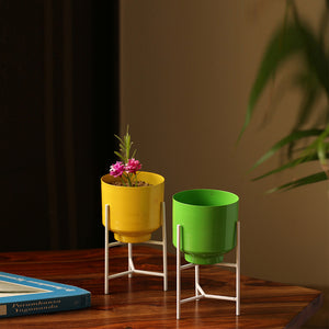 """The Glossy Cylindrical"" Table & Floor Planter Pots With Triangular Stands In Iron (Set of 2)"