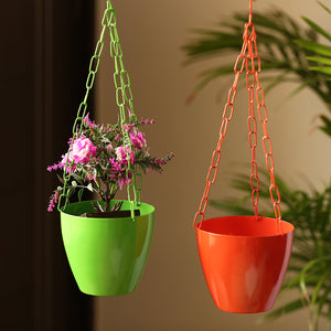 """The Chained Frustums"" Hanging Planter Pots With Chain In Iron (Set of 2)"