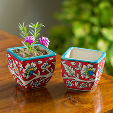 """""""Mughal Roots"""" Floral Hand-painted Ceramic Planter Pots (Set of 2)"""