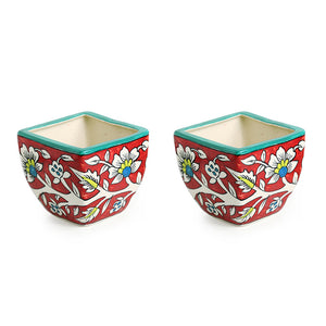 """Mughal Roots"" Floral Hand-painted Ceramic Planter Pots (Set of 2)"