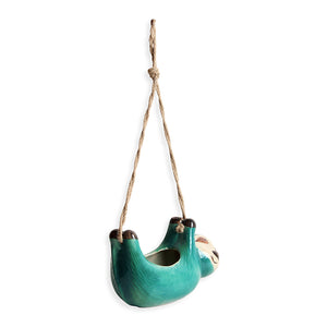 """Green Sloth"" Hand-Painted Hanging Planter In Ceramic"