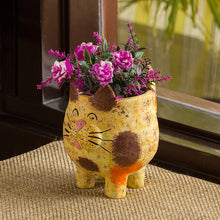 Load image into Gallery viewer, 'Mellow Cat' Handmade & Hand-painted Planter Pot In Terracotta (6.5 Inch)