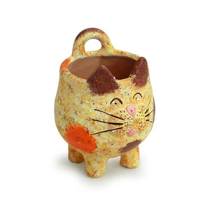 'Mellow Cat' Handmade & Hand-painted Planter Pot In Terracotta (6.5 Inch)