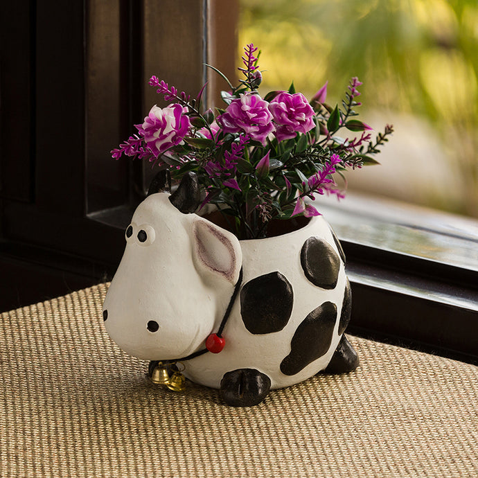 'Planting Moo' Handmade & Hand-painted Planter Pot In Terracotta (6 Inch)