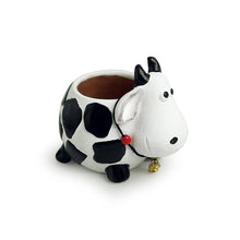 Load image into Gallery viewer, 'Planting Moo' Handmade & Hand-painted Planter Pot In Terracotta (6 Inch)