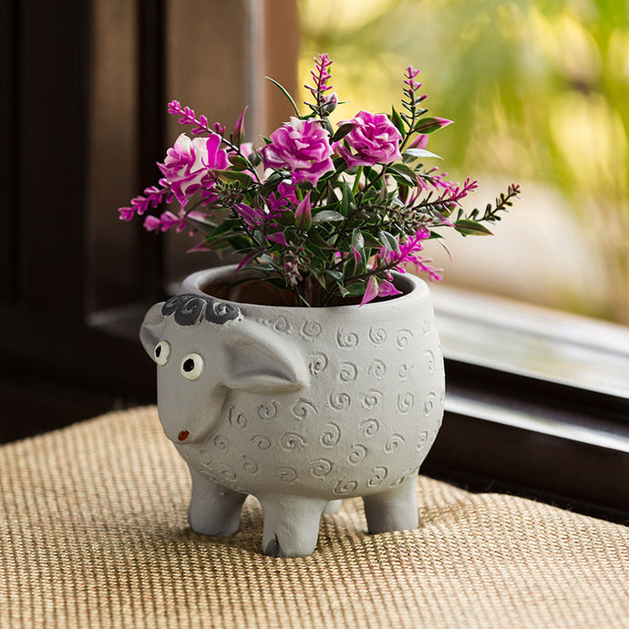 'Cheerful Sheep' Handmade & Hand-painted Planter Pot In Terracotta (6 Inch)