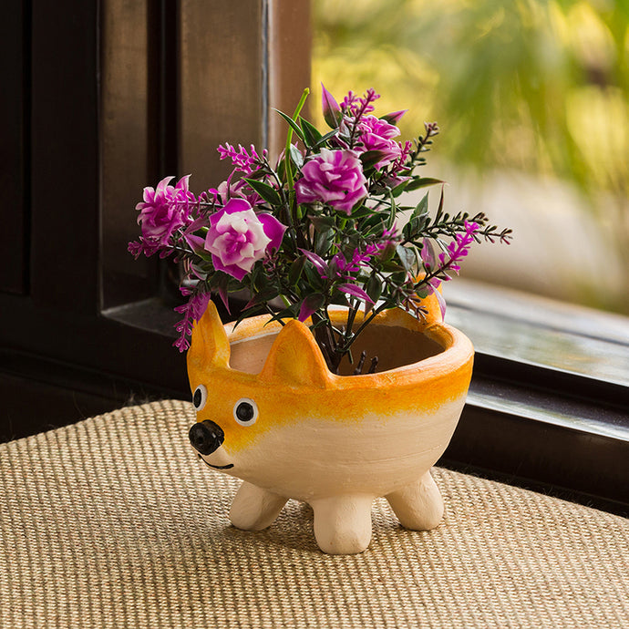 'Thinking Fox' Handmade & Hand-painted Planter Pot In Terracotta (6 Inch)