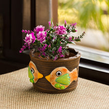 Load image into Gallery viewer, 'Fish Florets' Handmade & Hand-painted Planter Pot In Terracotta (4 Inch)
