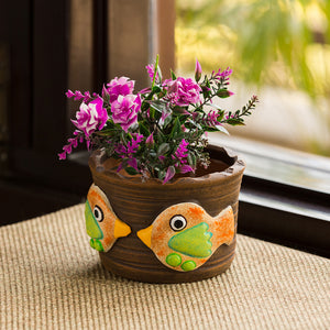 'Fish Florets' Handmade & Hand-painted Planter Pot In Terracotta (4 Inch)