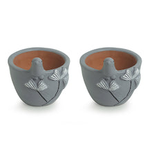 Load image into Gallery viewer, 'Blooming Birdies' Handmade & Hand-painted Planter Pots In Terracotta (4.5 Inch, Set of 2)