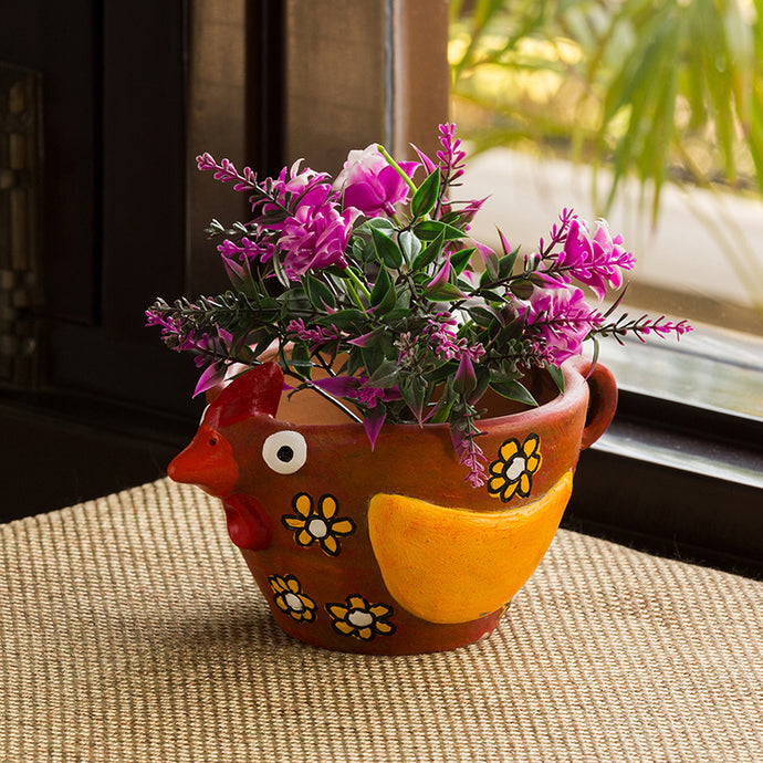 'Pecking Hen' Handmade & Hand-painted Planter Pot In Terracotta (4 Inch)