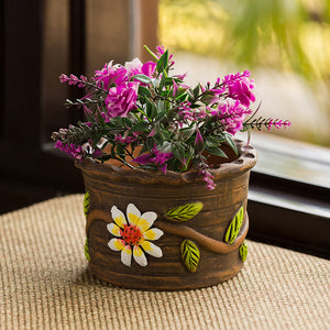 'Mud Blossoms' Handmade & Hand-painted Planter Pot In Terracotta (4 Inch)