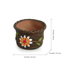 Load image into Gallery viewer, 'Mud Blossoms' Handmade & Hand-painted Planter Pot In Terracotta (4 Inch)