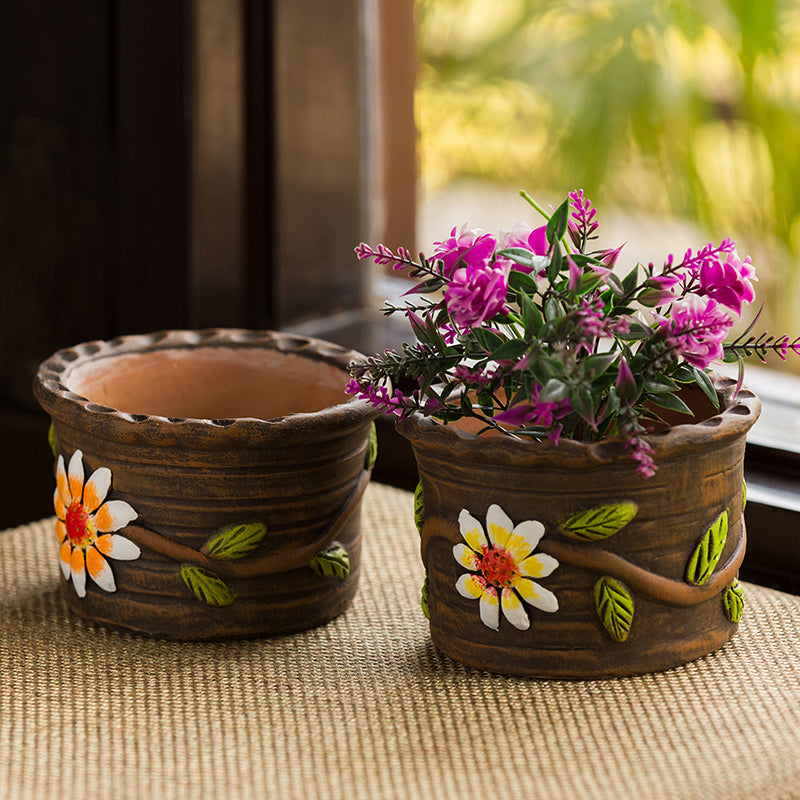 'Mud Blossom Pair' Handmade & Hand-painted Planter Pots In Terracotta (4 Inch, Set of 2)
