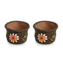 Load image into Gallery viewer, 'Mud Blossom Pair' Handmade & Hand-painted Planter Pots In Terracotta (4 Inch, Set of 2)