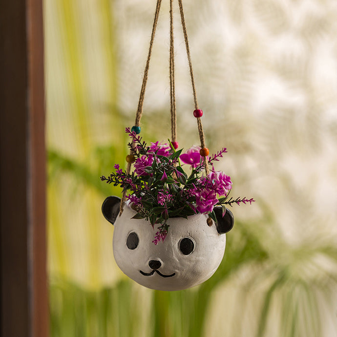 'Swinging Panda' Handmade & Hand-painted Hanging Planter Pot In Terracotta (5.5 Inch)