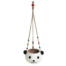 Load image into Gallery viewer, 'Swinging Panda' Handmade & Hand-painted Hanging Planter Pot In Terracotta (5.5 Inch)