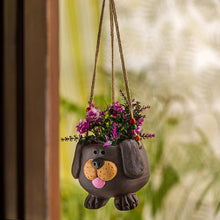 Load image into Gallery viewer, 'Swinging Dog' Handmade & Hand-painted Hanging Planter Pot In Terracotta (5.5 Inch)