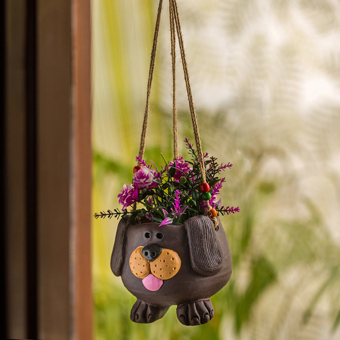 'Swinging Dog' Handmade & Hand-painted Hanging Planter Pot In Terracotta (5.5 Inch)