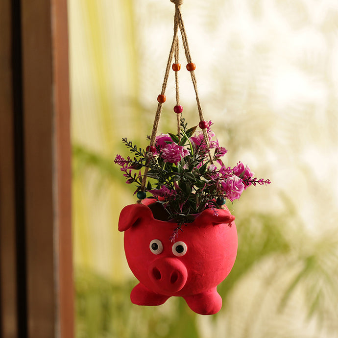 'Swinging Pig' Handmade & Hand-painted Hanging Planter Pot In Terracotta (5.5 Inch)
