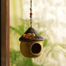 'Swinging Cottage' Handmade & Hand-painted Bird House In Terracotta (6 Inch)