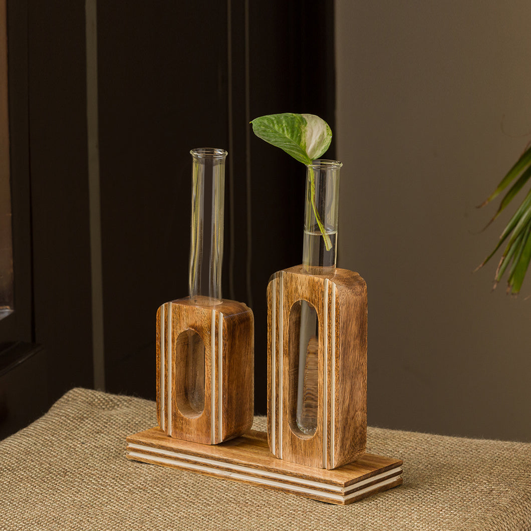 'Blooming Glass Upright Cuboids' Handcrafted Planter Tubes With Wooden Holder (13 Inch)