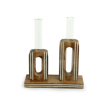 Load image into Gallery viewer, 'Blooming Glass Upright Cuboids' Handcrafted Planter Tubes With Wooden Holder (13 Inch)