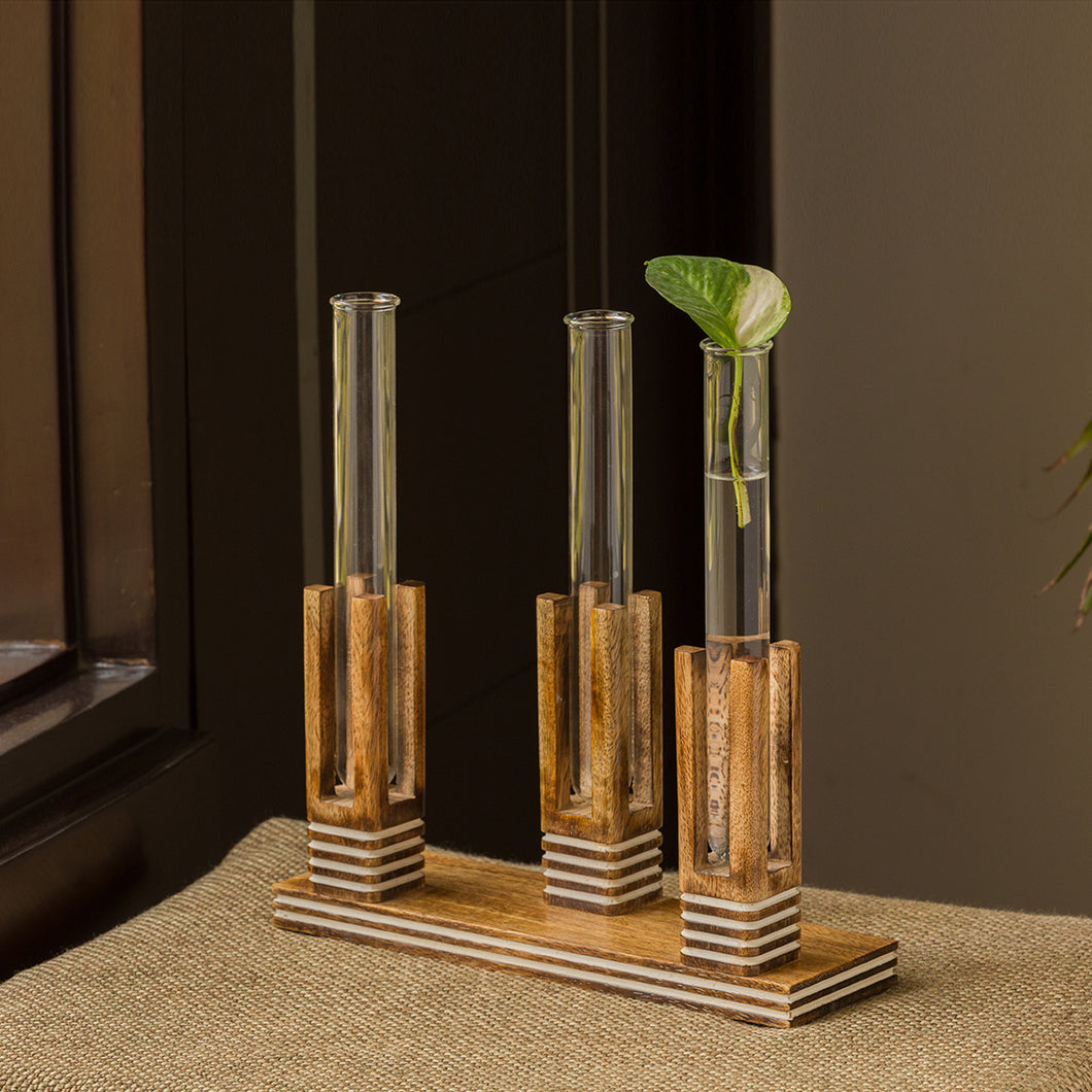 'Blooming Glass Trio Pillars' Handcrafted Planter Tubes With Wooden Holder (11 Inch)