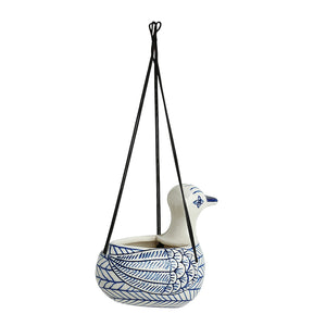 'Indigo Chevron Duck' Hand-painted Ceramic Hanging Planter Pot (6 Inch)