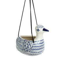 Load image into Gallery viewer, 'Indigo Chevron Duck' Hand-painted Ceramic Hanging Planter Pot (6 Inch)