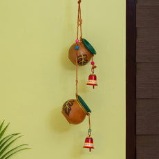 'Shades of a Leaf' Hand-Painted Decorative Hanging Bird Feeder In Terracotta & Metal