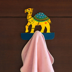 'The Camel Drape' Hand-Painted Towel Holder In Chilbil Wood