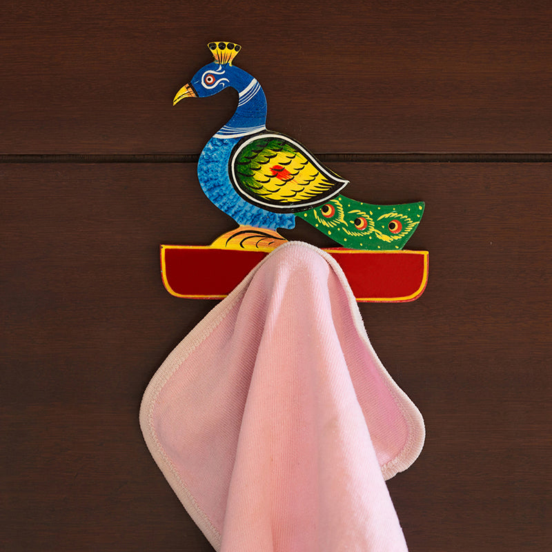 'The Peacock Rack' Hand-Painted Towel Holder In Chilbil Wood