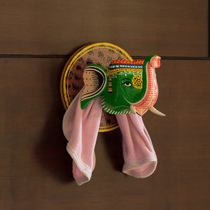 'The Elephanta Case' Hand-Painted Towel Holder In Gullar Wood