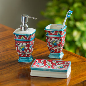 """Mughal Essentials"" Floral Hand-painted Bathroom Accessory Set Of 3 In Ceramic"